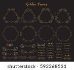 big collection of golden emblem ... | Shutterstock .eps vector #592268531