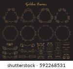 big collection of golden emblem ...   Shutterstock .eps vector #592268531