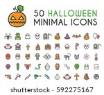 set of 50 minimalistic solid... | Shutterstock .eps vector #592275167