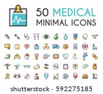 set of 50 minimalistic solid... | Shutterstock .eps vector #592275185