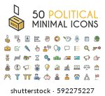 set of 50 minimalistic solid... | Shutterstock .eps vector #592275227