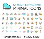 set of 50 minimalistic solid... | Shutterstock .eps vector #592275239