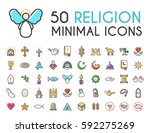 set of 50 minimalistic solid... | Shutterstock .eps vector #592275269