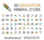 set of 50 minimalistic solid... | Shutterstock .eps vector #592275275