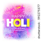 happy holi background with... | Shutterstock .eps vector #592275377