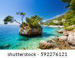 adriatic sea in brela on... | Shutterstock . vector #592276121