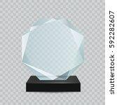 glass transparent trophy award.   Shutterstock .eps vector #592282607