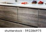 modern kitchen wooden cabinets  ... | Shutterstock . vector #592286975