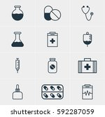 illustration of 12 health icons.... | Shutterstock . vector #592287059