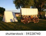 Fort Laramie National Historic Site  Wyoming covered wagons set up to depict a pioneer campsite