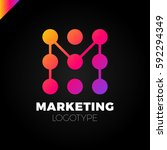 letter m logo design template.... | Shutterstock .eps vector #592294349