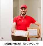 delivery  mail  people and... | Shutterstock . vector #592297979