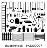 garden tools icon set. various... | Shutterstock .eps vector #592300007