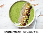 breakfast detox green smoothie... | Shutterstock . vector #592300541