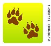 animal tracks sign. vector.... | Shutterstock .eps vector #592308041