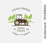 logo tractor   vector... | Shutterstock .eps vector #592308401