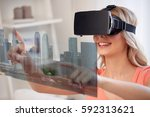 technology  augmented reality ... | Shutterstock . vector #592313621