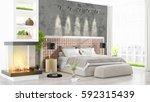 modern bright interior . 3d... | Shutterstock . vector #592315439