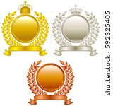 crown. gold medal. silver medal....   Shutterstock .eps vector #592325405