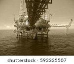 offshore construction platform... | Shutterstock . vector #592325507