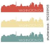 washington dc skyline... | Shutterstock .eps vector #592335935