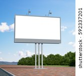 3d rendering blank billboard | Shutterstock . vector #592337201