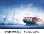 logistics and transportation of ... | Shutterstock . vector #592339841