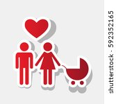 family symbol with pram and... | Shutterstock .eps vector #592352165