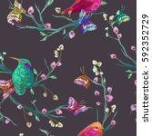 vintage seamless pattern  bird  ... | Shutterstock .eps vector #592352729