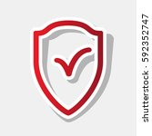 shield sign as protection and... | Shutterstock .eps vector #592352747