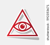 all seeing eye pyramid symbol.... | Shutterstock .eps vector #592353671