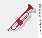 musical instrument trumpet sign.... | Shutterstock .eps vector #592353701