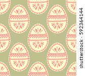 seamless pattern with easter... | Shutterstock . vector #592364144
