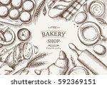 bakery background. linear... | Shutterstock .eps vector #592369151