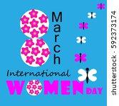 international women day card... | Shutterstock .eps vector #592373174
