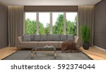 interior with sofa. 3d... | Shutterstock . vector #592374044