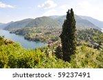 Famous Italian lake Como from Villa Serbelloni - stock photo