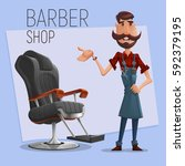 cartoon barber character and... | Shutterstock .eps vector #592379195
