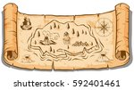 treasure map on roll paper... | Shutterstock .eps vector #592401461