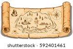 treasure map on roll paper... | Shutterstock .eps vector #592401461