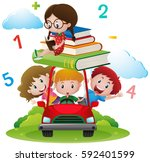 many children on red car... | Shutterstock .eps vector #592401599