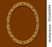 oval frame gold color with... | Shutterstock .eps vector #592403399