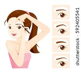 woman drawing her brow by... | Shutterstock .eps vector #592405541