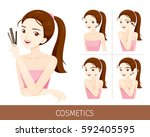 woman with step to apply... | Shutterstock .eps vector #592405595
