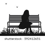 vector isolated silhouette of a ... | Shutterstock .eps vector #592412651