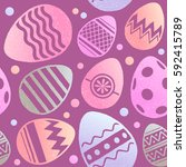 happy easter seamless pattern.... | Shutterstock .eps vector #592415789