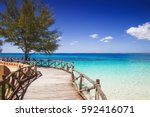 beautiful bay on the tropical... | Shutterstock . vector #592416071
