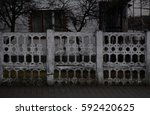 Old White Concrete Fence In...