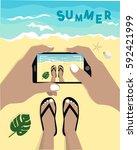 summer concept. girl holding... | Shutterstock .eps vector #592421999