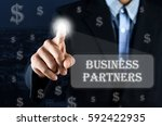 business man pointing hand on... | Shutterstock . vector #592422935